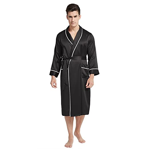 LilySilk Pure Mulberry Silk Robes for Men Long Kimono Luxury Natural Silk  22 Momme Classic with Contrast Color at Amazon Men s Clothing store  2fdeaa6ac