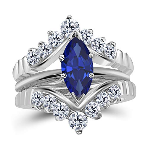Gems and Jewels 0.75 Ct Marquise Solitaire Engagement Wedding Ring Band Set Enhancer Blue Sapphire 14k White Gold Plated Alloy