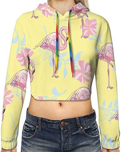フラミンゴ柄の女性のカジュアルな長袖カラーブロックプルオーバースウェットシャツクロップトップスポーツジムオフィススクール