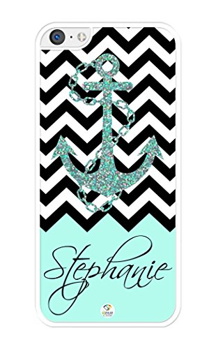 iZERCASE Personalized Black Turquoise and White Chevron Pattern with Anchor RUBBER iPhone 5C case - Fits iPhone 5C T-Mobile, AT&T, Sprint, Verizon and International (White) (Iphone 5c White Chevron Turquoise)