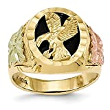 Men's 10K Tri-Color Gold Black Hills Gold Eagle Ring