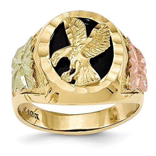 (Men's 10K Tri-Color Gold Black Hills Gold Eagle Ring)
