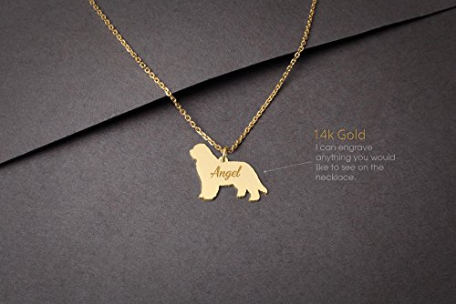 14K GOLD Personalised NEWFOUNDLAND DOG Necklace - Newfoundland Dog Name Jewelry - Gold Necklace- Dog Jewelry - Dog breed Necklace - Dog Necklaces
