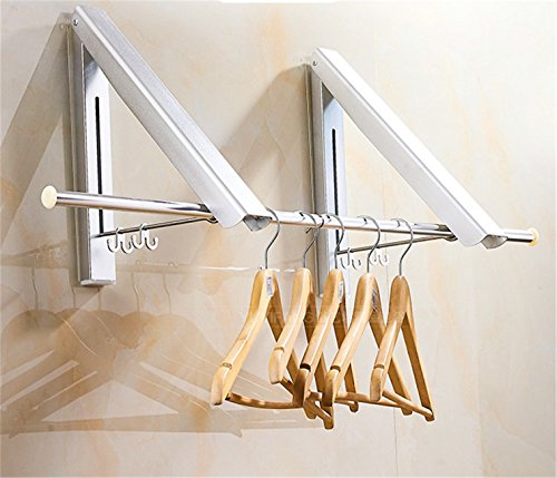 Laundry Clothes Hanger Rack - Aluminium Folding & Retractable Clothes Racks| Wall Mounted Clothes Drying Rack| Home Storage Organization Space Savers for Living Room, Bathroom, Bedroom - 1 Kit