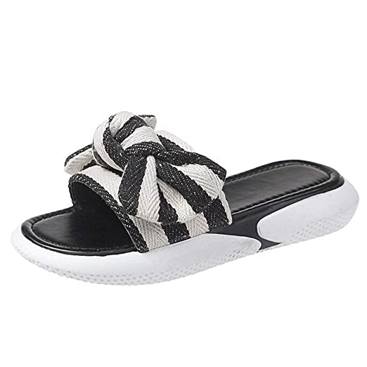 210e47c6e599 Amazon.com  Women s Summer Bowknot Soft Slippers Shoes 2019 Hot Ladies  Lightweight Outdoor Beach Cool Feel Casual Sandals Shoes QAQ  Clothing