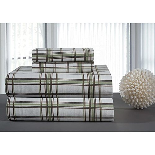3 Piece Sage Green White Plaid Sheets Twin Set, Beautiful Classic Brown Black Checkered Print Bedding Bold Check Reversible Design, Casual Country Lodge Style, Bright Colors, Ultra-Soft Cotton Flannel
