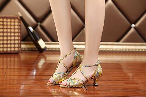Kevin Mode Kl213 Kvinna T-rem Syntetisk Latin Salsa Tango Bröllops Sandaler Guld