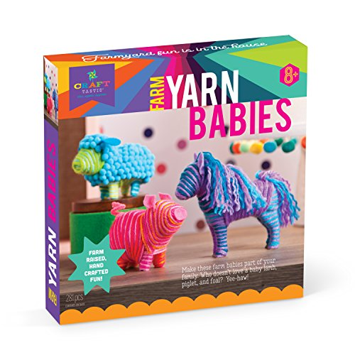 Yarn Animals - Craft-tastic – Farm Yarn Babies Kit – Craft Kit Makes 3 Yarn-Wrapped Animals – Foal, Lamb & Piglet