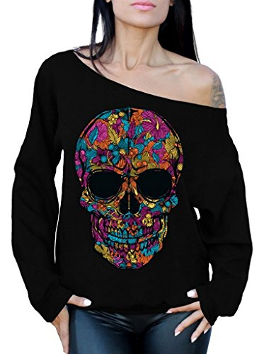 Black Flower Sugar Skull Day of Dead Off Shoulder Sweatshirt M Black