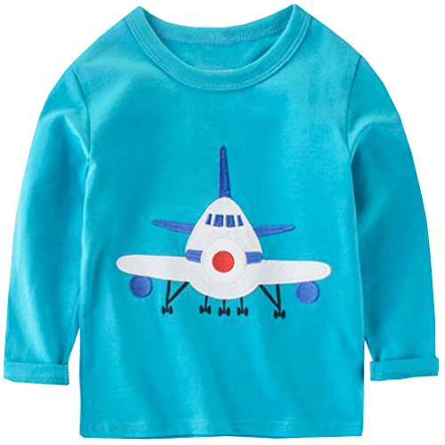 Boys Long Sleeve Crewneck T-shirt (Csbks Boy Long Sleeve T Shirt Cotton Crewneck Cartoon Tees Toddler 3T Blue)