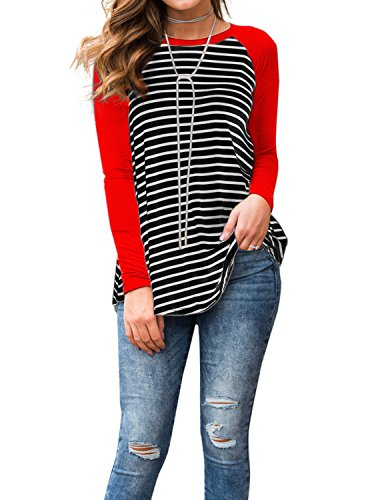 (Women's Black and White Striped Long Sleeve Baseball T Shirt Blouse Tunic Tops Red Medium)