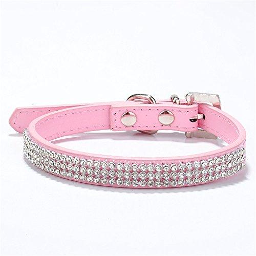 Puppy-league® Rhinestone Element Dog Collar Bling Studded Simulation Leather Pet Collars Adjustable Unisex (Pink, M)