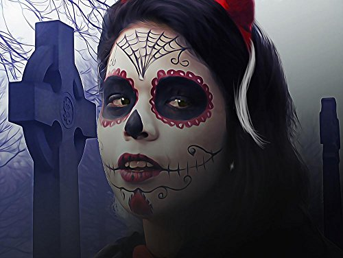 LAMINATED 32x24 inches POSTER: Catrina Sugar Skull Day Of The Dead Mexican Halloween Skull Sugar Traditional Woman Female Gothic Dark Calavera Face Make Up Celebration Death Horror Paint ()
