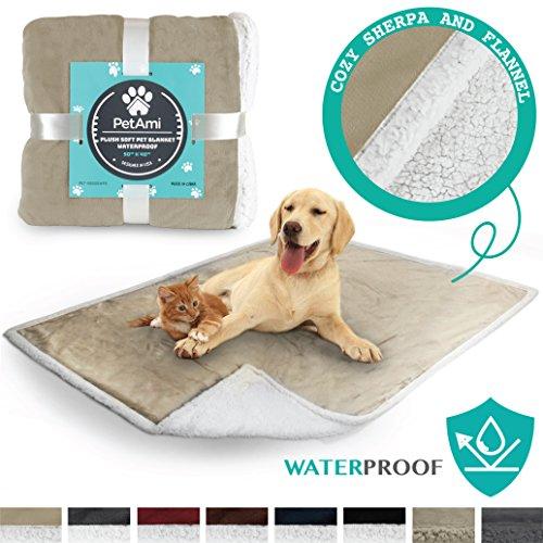 "PetAmi Premium Waterproof Soft Sherpa Pet Blanket by Cozy, Comfortable, Plush, Lightweight Microfiber, 100% WATERPROOF (50"" x 40"", Taupe)"