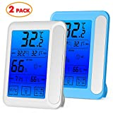 #10: 2 Pack Senbowe™ Digital Hygrometer Indoor Room Thermometer Humidity Gauge with Jumbo Touchscreen, Backlight ,MIN/MAX Records,Temperature Humidity Monitor Fahrenheit Or Celsius (White + Blue)