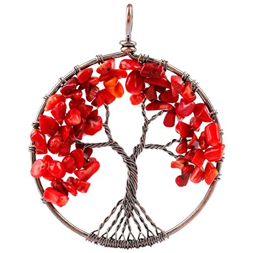SUNYIK Tumbled Red Coral Tree of Life Pendant Copper Color (Tree Coral Pendant)