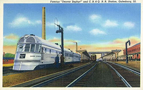 Galesburg, Illinois - Denver Zephyr Train at Station - Vintage Halftone (16x24 SIGNED Print Master Giclee Print w/Certificate of Authenticity - Wall Decor Travel Poster)