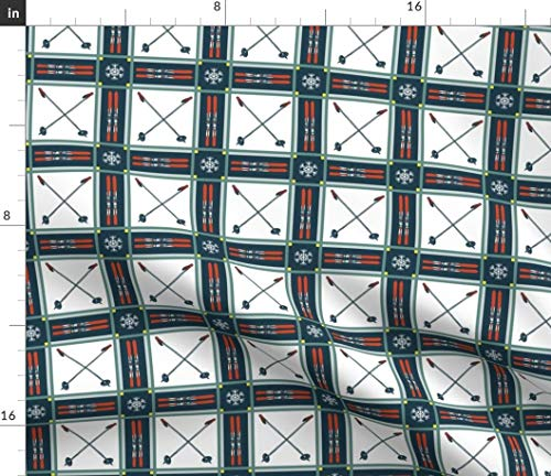- Retro skis and Poles Fabric - Cubic Pattern Boxes Ski and Poles Retro Skis and Poles Tartan Plaid Vintage Ski Resort Retro by Lisakling Printed on Cotton Poplin Ultra Fabric by The Yard