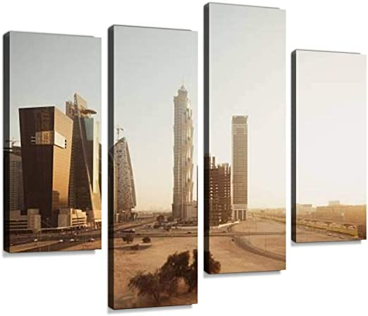 Amazon Com Dubai Skyscraper Canvas Wall Art Hanging Paintings Modern Artwork Abstract Picture Prints Home Decoration Gift Unique Designed Framed 4 Panel Posters Prints