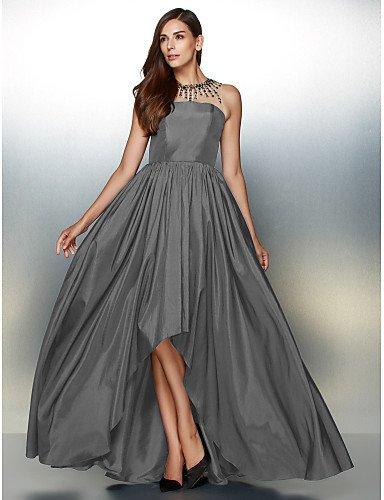 Silver Vestido Con Noche Una De Joya HY Crystal De Prom Tafetán amp;OB Línea De Formal Cuello Detallando Asimétrica xgqw71BTvw