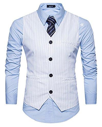 Homme Boutons Avec V Gilet Sans Dianshao De Rayures Entreprise Casual Costume Blanc Col Manche 76qPd