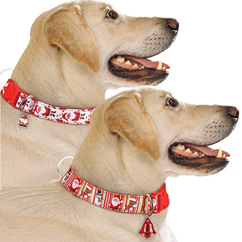 Festive Christmas Dog Collars with Red Bell - Set of 2, Dog Accessories for Holiday Season, Medium/Large ()