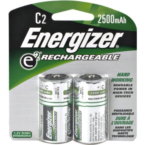 Energizer C Cell Rechargeable NiMH Battery Retail Pack 2500mAh - 2 Pack