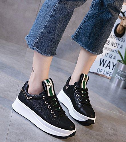 D2c Skönhet Kvinna Läder Fördel Ren Med Mode Sneakers Svart