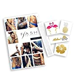 BEACH BLING BUNDLE includes Flash Tattoos topical-inspired Beach Queen Variety Set (25 tats) and Zarha 4-sheet pack