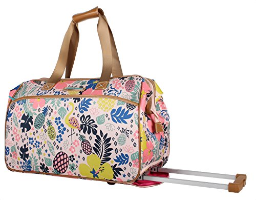 Lily Bloom Luggage Designer Pattern Suitcase Wheeled Duffel Carry On Bag (14in, Trop Pineapple)