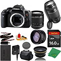Great Value Bundle for T6I DSLR – 18-55mm STM + 75-300mm III + 16GB Memory + Wide Angle + Telephoto Lens + Case