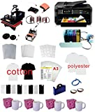 Pro Sublimation 15''x15'' 8in1 Heat Press WF-7710(11''x17'') Printer CISS kit