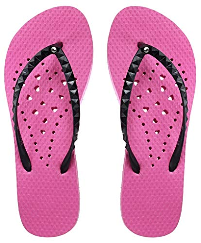Showaflops Girls' Antimicrobial Shower & Water Sandals for Pool, Beach, Camp and Gym - Pink/Black Long Heart 2/3