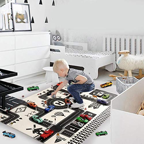 Kids Carpet Playmat Rug, Fanxis City Life Great for Playing with Cars and Toys - Play, Learn and Have Fun Safely - Children Educational Road Traffic Play Mat, for Bedroom -