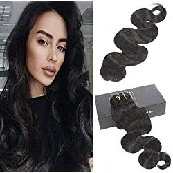 【promotion】Sunny Clip In Human Hair Extensions Body Wave 100% Virgin Remy Human Hair 7 pieces 120gram Grade 8A for Thin Hair Natural Black 20 Inch