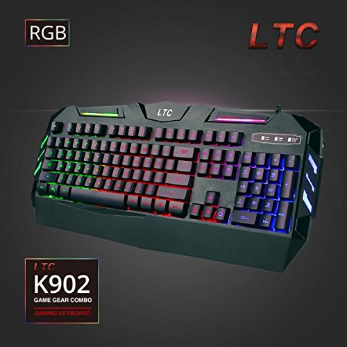 516I4ftpIaL - LeaningTech-LTC-K902-Rainbow-RGB-Backlit-19-key-Anti-Ghosting-Waterproof-USB-Wired-Mechanical-Feeling-Office-Gaming-Keyboard--US-Layout