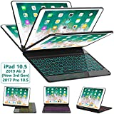 iPad Pro 10.5 Keyboard Case 2017/ iPad Air 3 Case with Keyboard 10.5 2019-360 Rotate 7 Color Backlit Wireless Keyboard with Smart Folio Hard Back Cover