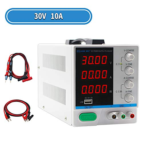 DC Power Supply Variable 30V 10A, 4-Digital LED Display, Precision Adjustable Switching Regulated Multifunctional Power Supply Digital with USB Interface, Disply with Output Power Lab Grade (Variable Dc Power Supply)