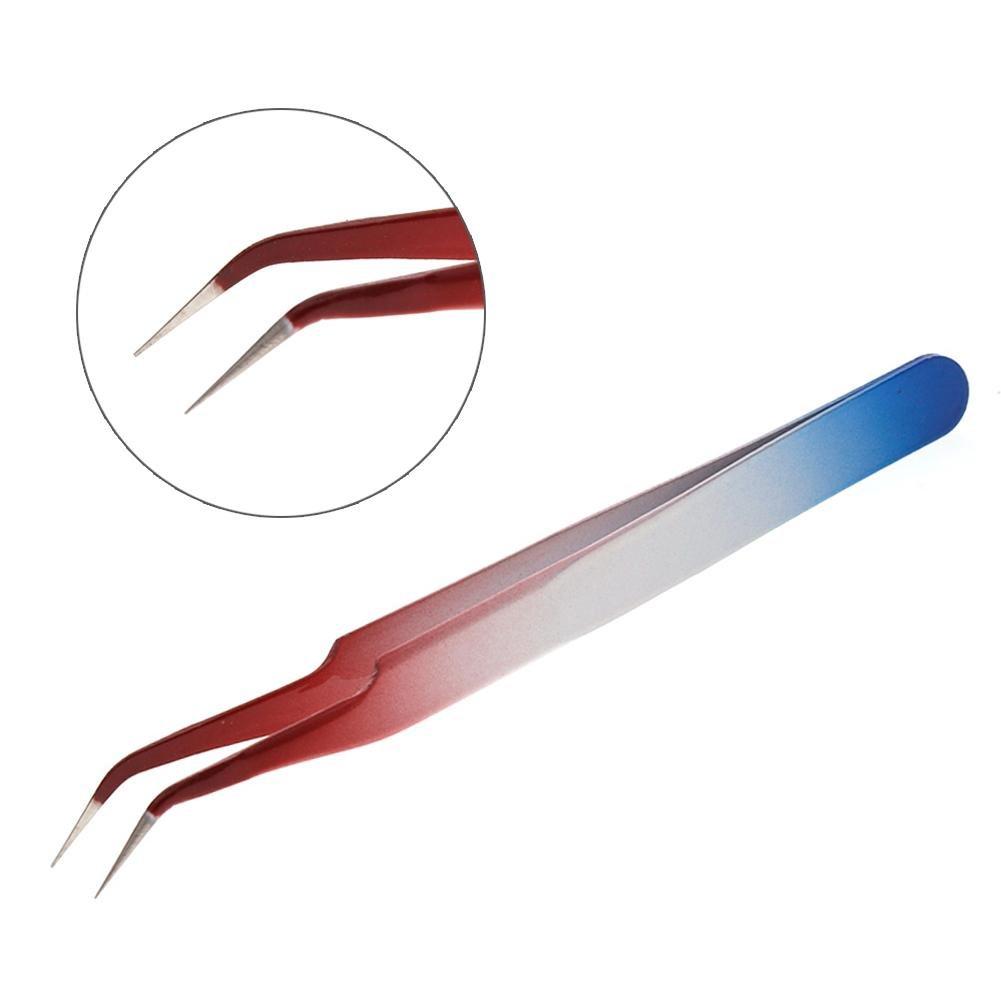 Ownsig Gradient Multi-Color Curved Eyelash Extensions Tweezer Picking Nipper Tool for False Eye Lash Nail Art Rhinestones Beads