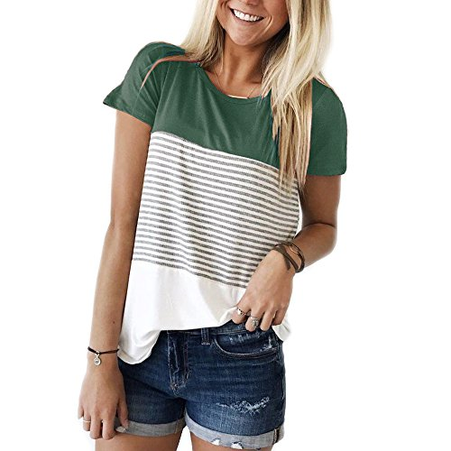 YunJey Short Sleeve Round Neck Triple Color Block Stripe T-Shirt Casual Blouse Green