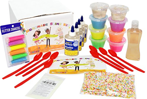 8 Pack Kit (Ultimate Slime Kit for Girls | Makes 5 Types: Glitter, Glow, Neon, Crunchy, and Clear Slime | 8 Pack Great for Kids Parties | All Supplies Included in Starter Kit | Sensitive Skin Friendly)