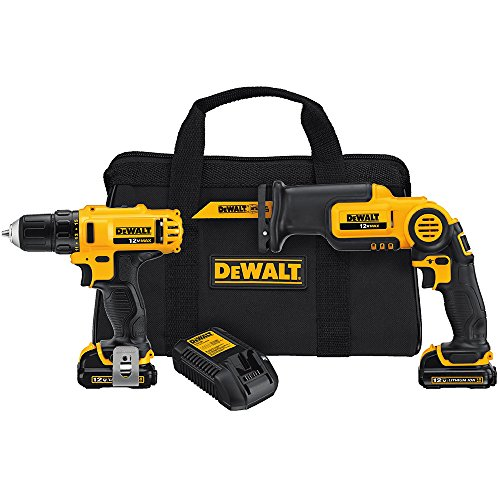 DEWALT DCK212S2 12-Volt MAX Drill Driver and Reciprocating Saw Kit with DEWALT DW4898 Bi-Metal Reciprocating Saw Blade Set with Case, 10-Piece