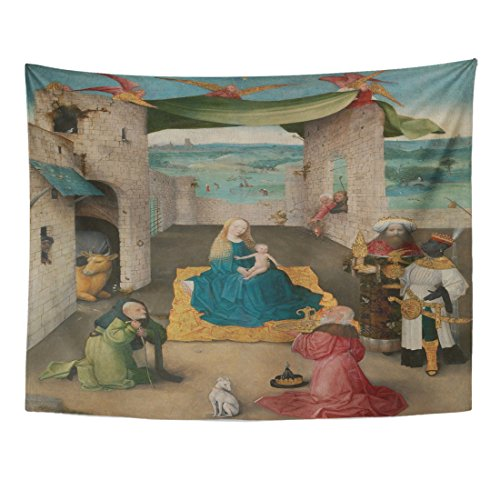 VaryHome Tapestry the Adoration of Magi By Hieronymus Bosch 1475 Netherlandish Northern Renaissance Painting Is Presented Home Decor Wall Hanging for Living Room Bedroom Dorm 60x80 - Northern Blanket Striped