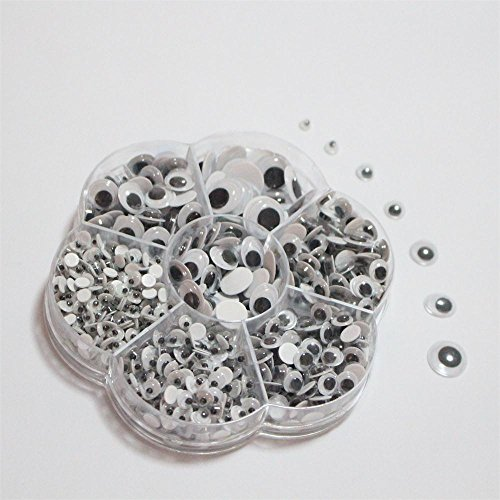 700Pcs Box  4Mm 5Mm 6Mm 7Mm 10Mm 12Mm 11X8mm Mixed   Round Plastic Self Adhesive Googly Eyes