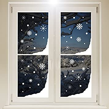 Christmas Window Snow Corners And Snowflakes Sticker WHITE Self - Snowflake window stickers amazon