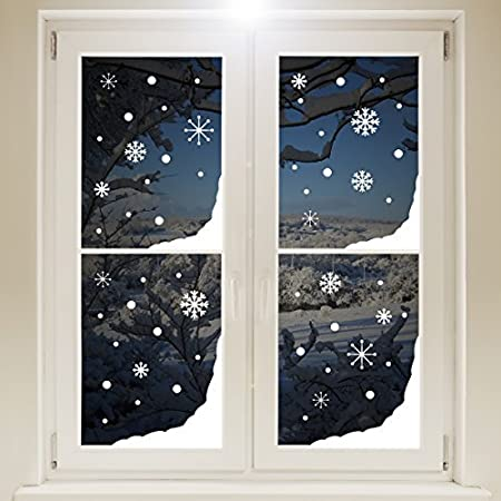 Christmas window snow corners and snowflakes sticker white self adhesive vinyl decoration for home
