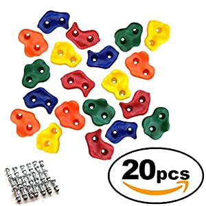 20 Rock Climbing Holds for Kids with Installation Hardware and Easy Installation Guide – Climbing Rocks for Children – Easy Indoor Outdoor Installation on Rock Walls and Play Sets
