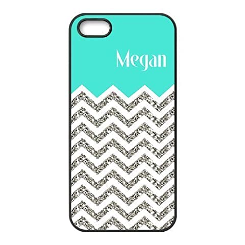 iFUOFF Amazing Cyan and Grey White Zigzag Chevron Customized Name Protective Snap On Fashion Case for iPhone 5 and 5S (Black or White 2 (Lion King Htc One M7 Case)