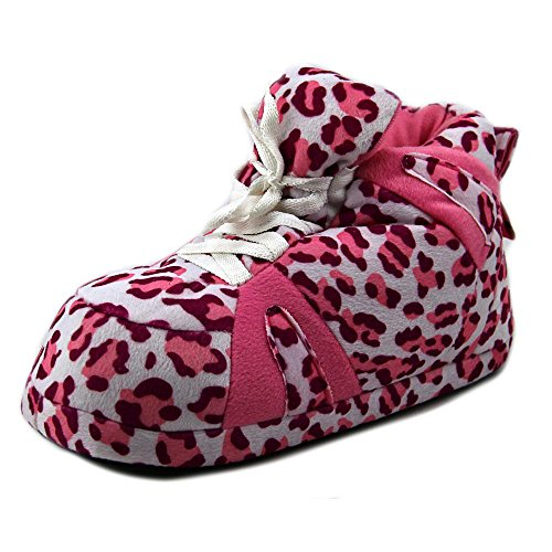 Leopard Slippers Womens Standard Pink and Happy Feet Mens Sneaker wtqP8O