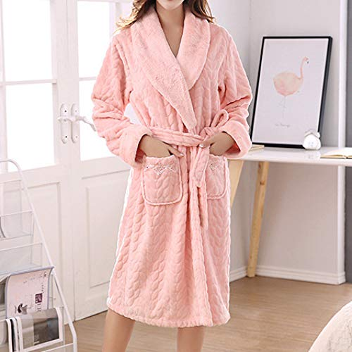Súper Larga Y Manga El Albornoz Pijamas Para Franela Gruesas Adecuados Pink Cómodas Spa Lbrvictry Batas Damas Vacaciones De Suaves AwtfnSwqO